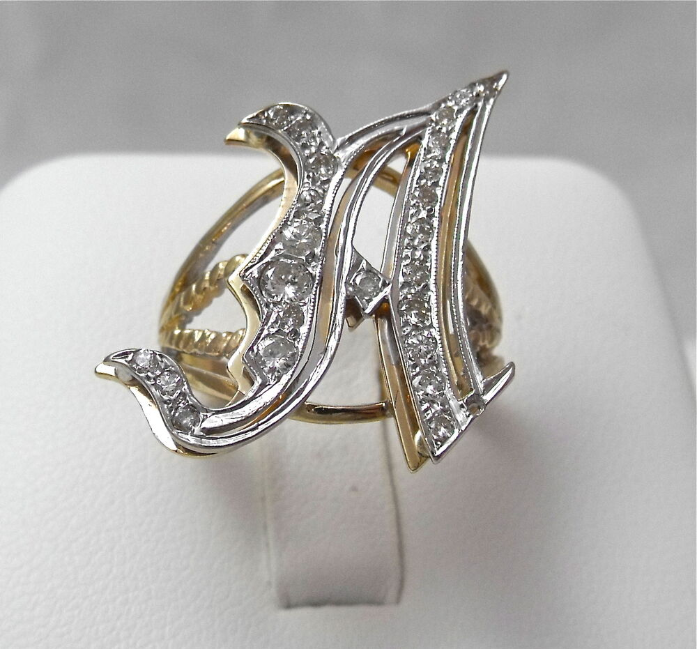 14k two tone gold diamond letter initial a ring sz75 ebay for Gold ring models with letters