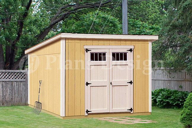 8 39 x 10 39 deluxe shed plans modern roof style d0810m for Shed plans and material list