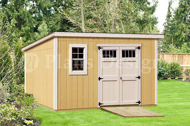 Modern roof style 8 39 x 12 39 deluxe shed plans d0812m for Shed materials list