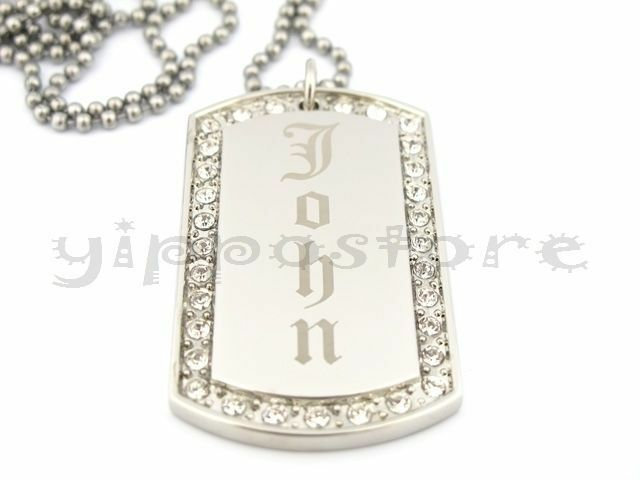 custom engraved stainless steel personalized cz dog tag. Black Bedroom Furniture Sets. Home Design Ideas