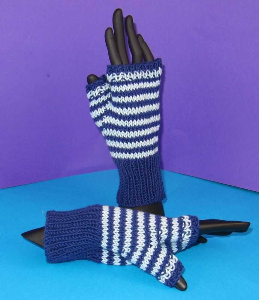Knitting Patterns Striped Gloves : PRINTED KNITTING INSTRUCTIONS -EASY STRIPE FINGERLESS GLOVES KNITTING PATTERN...