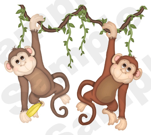 Noah 39 s ark monkey jungle wall mural childrens kids nursery for Baby jungle safari wall mural