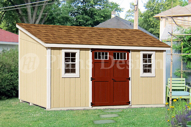10 39 x 14 39 storage shed plans slant lean to d1014l for Lean to storage shed