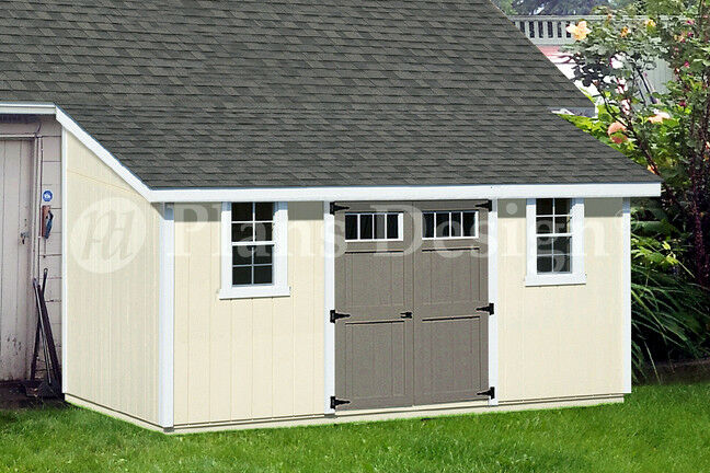 10 39 x 16 39 outdoor structure building storage shed plans lean to d1016l ebay - Garden sheds with lean to ...