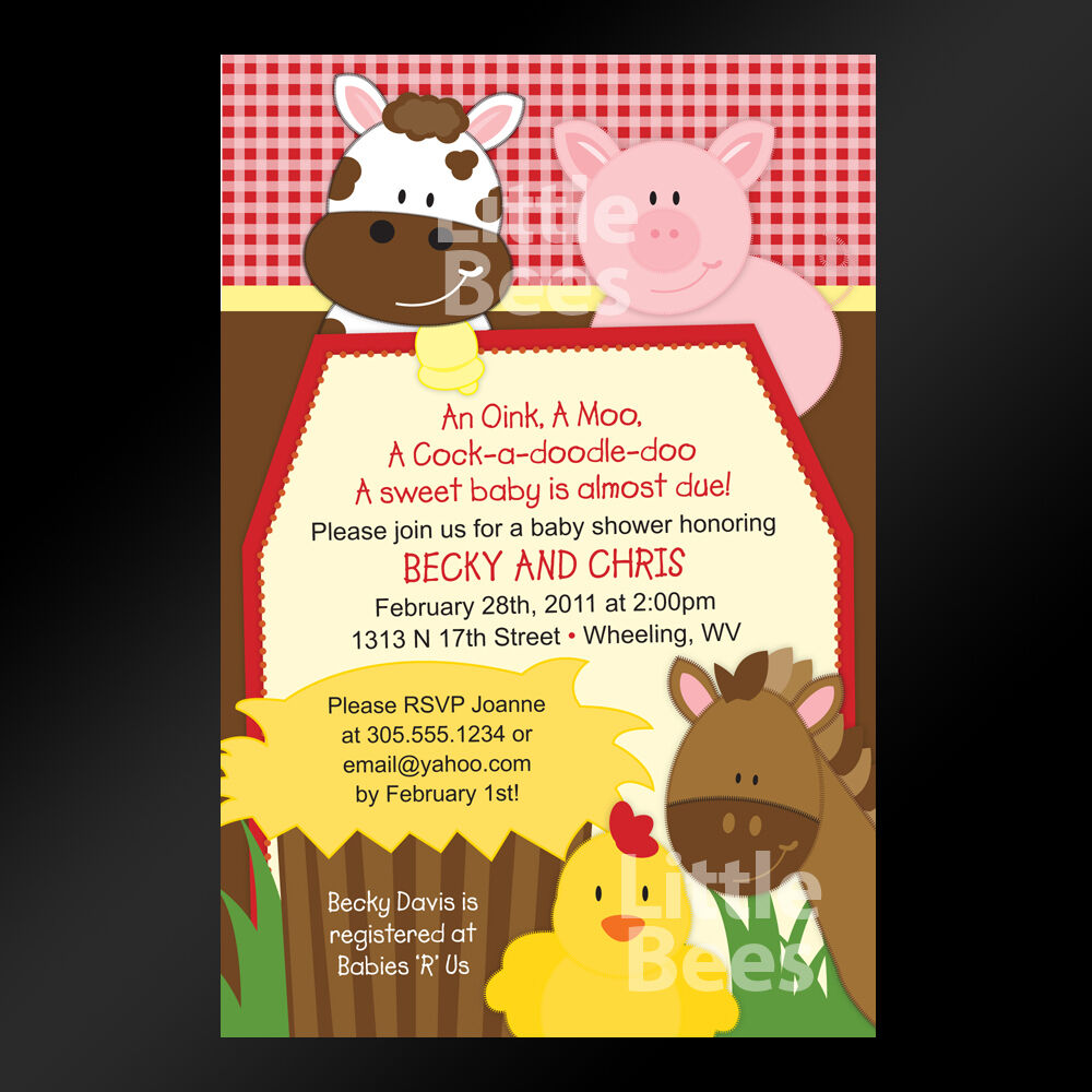 Gingham Farm Animals Barnyard -- Printable Baby Shower Or