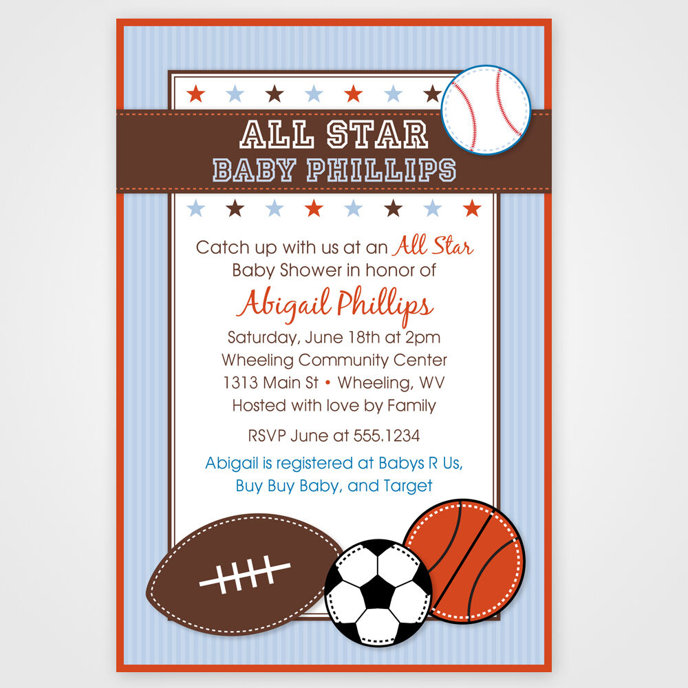 All Star Sport Printable Baby Shower or Birthday Invitations Any