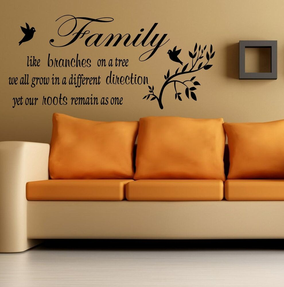Wall quote family like a branches on a tree wall sticker for Home decor quotes on wall