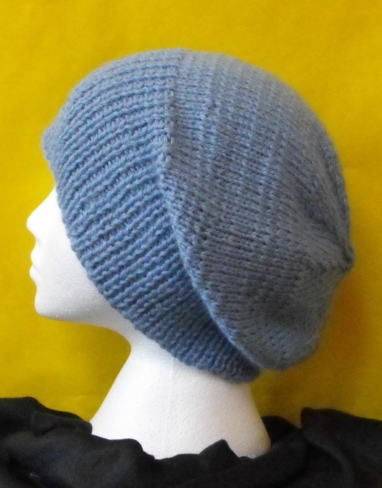 KNITTING PATTERN INSTRUCTIONS-CHUNKY SLOUCH BIG BEANIE HAT KNITTING PATTERN ...