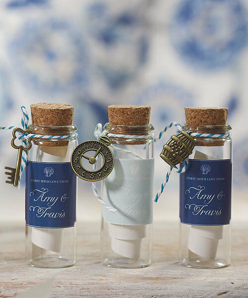 DIY Wedding Guest Favor Gift Mini Clear Glass Bottles / Jars with Cork ...