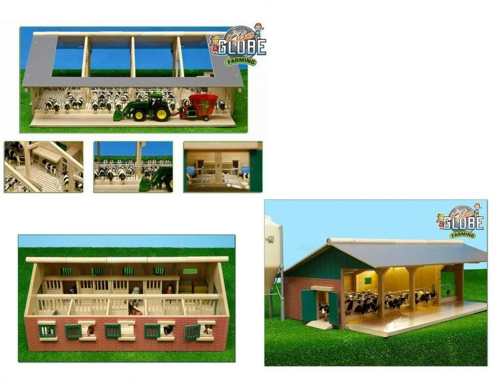Toy Model Buildings : Wooden model toy farm stable buildings kids globe