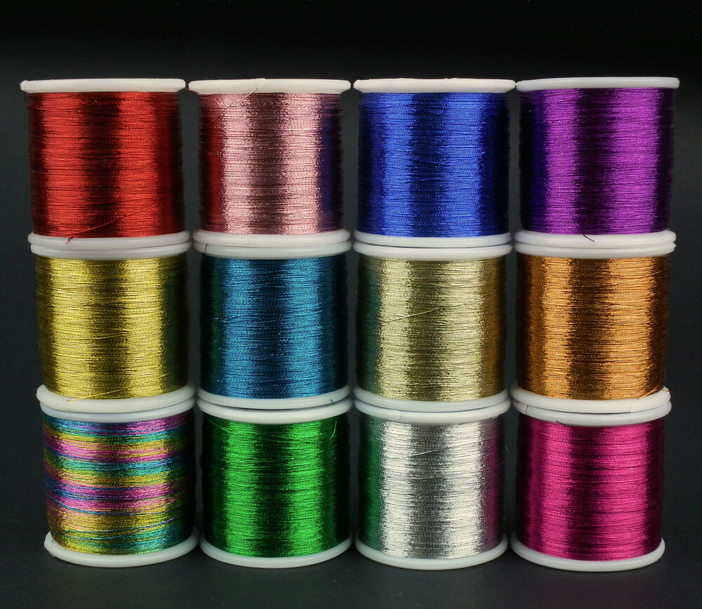 METALLIC SEWING  EMBROIDERY THREAD 200m SPOOLS RED BLUE