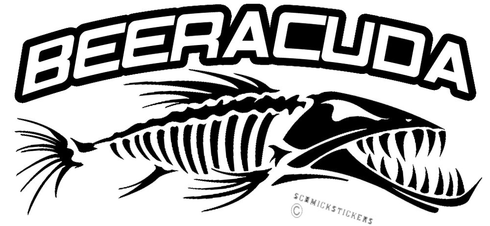 funny fishing sticker barracuda beeracuda sticker for boat