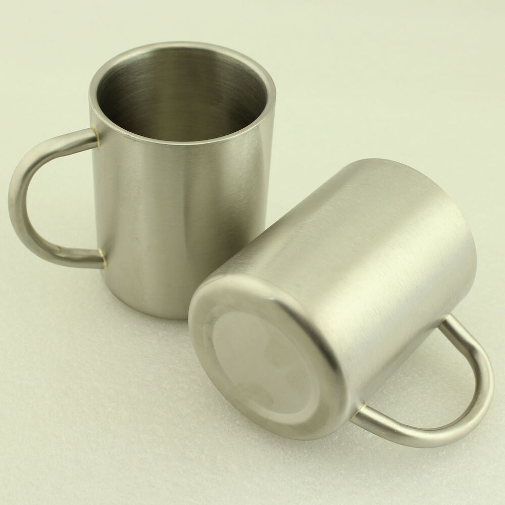 lot 2pcs new isolate stainless steel tea beer coffee mug children cup w handle ebay. Black Bedroom Furniture Sets. Home Design Ideas
