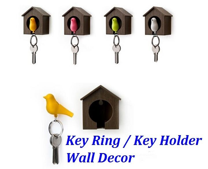 Sparrow Key Holder Key Ring Whistle Bird House Wall Home