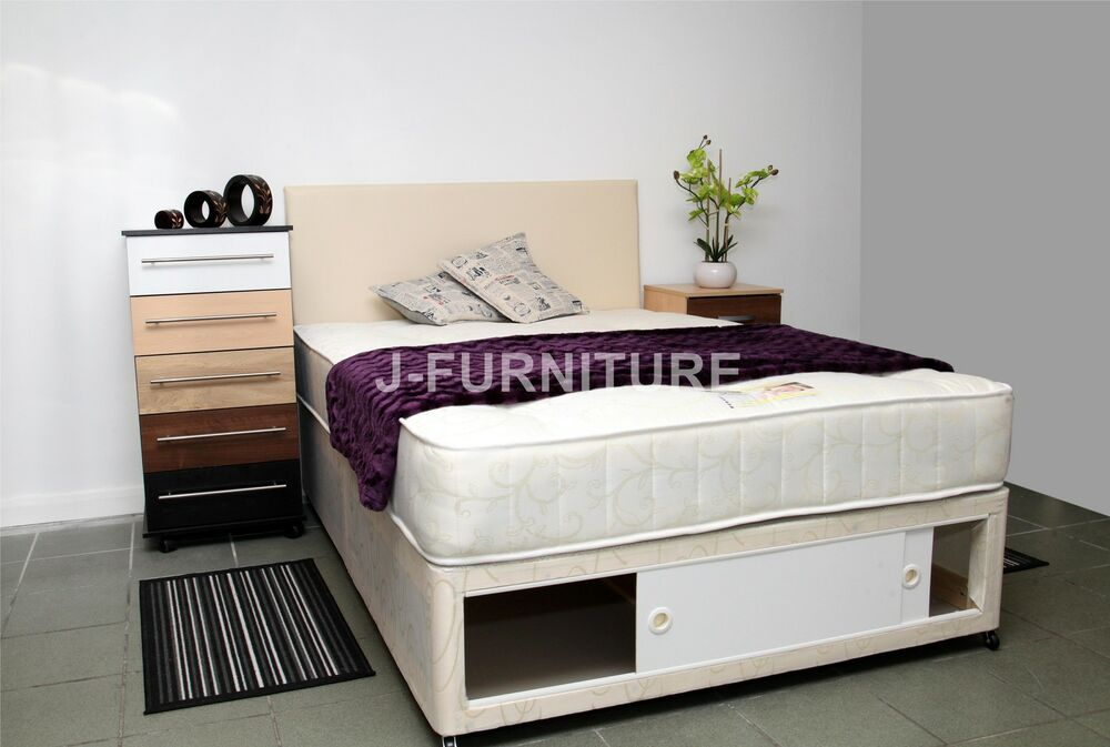 Single double king size luxury orthopaedic divan bed for Double divan bed with slide storage