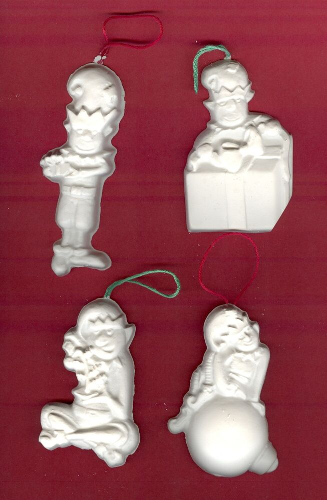 Busy elves ornaments plaster of paris painting project for Plaster crafts to paint