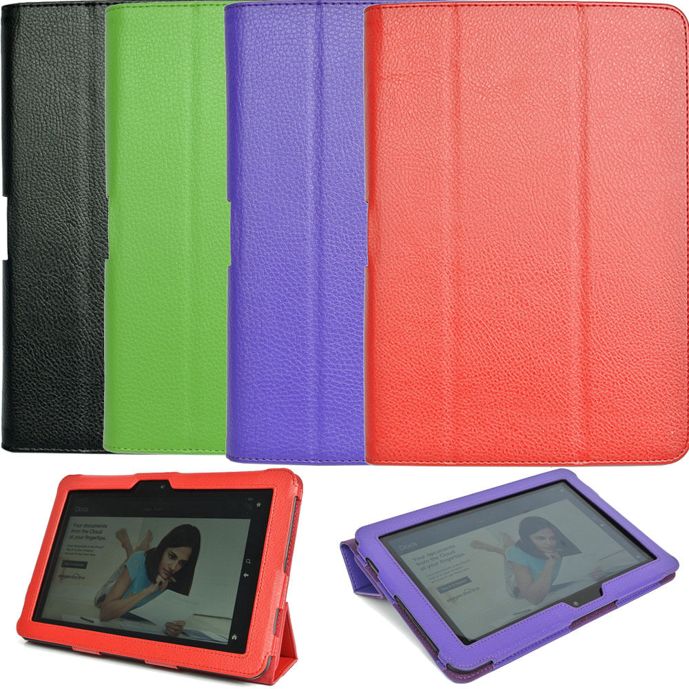 Genuine Leather Stand Case Cover For Amazon Kindle Fire HD