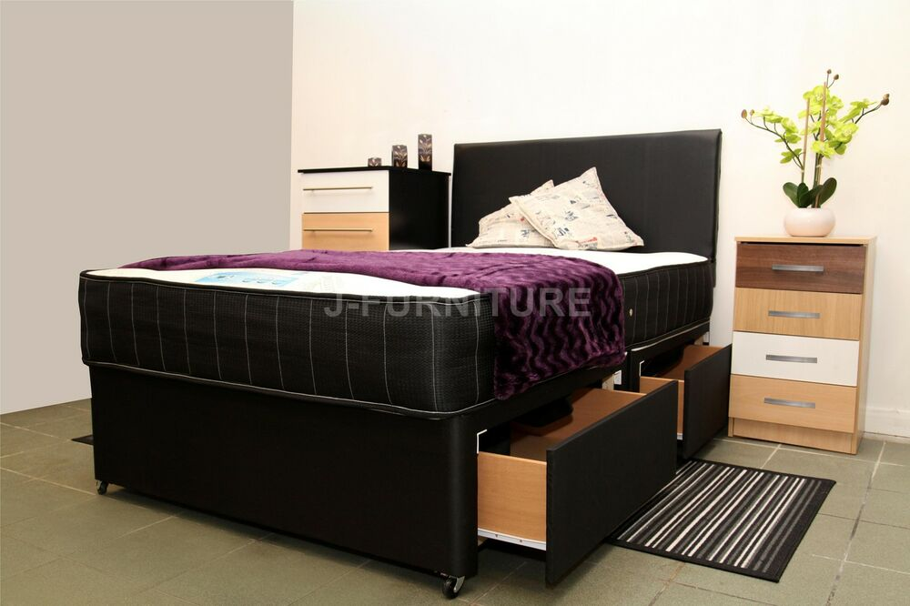 Small single single small double double king size divan for Single divan with drawers and headboard