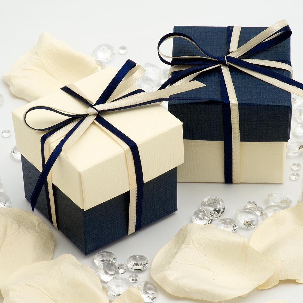 Wedding Favor Boxes: Navy Blue And Ivory Silk Square Boxes & Lids Wedding
