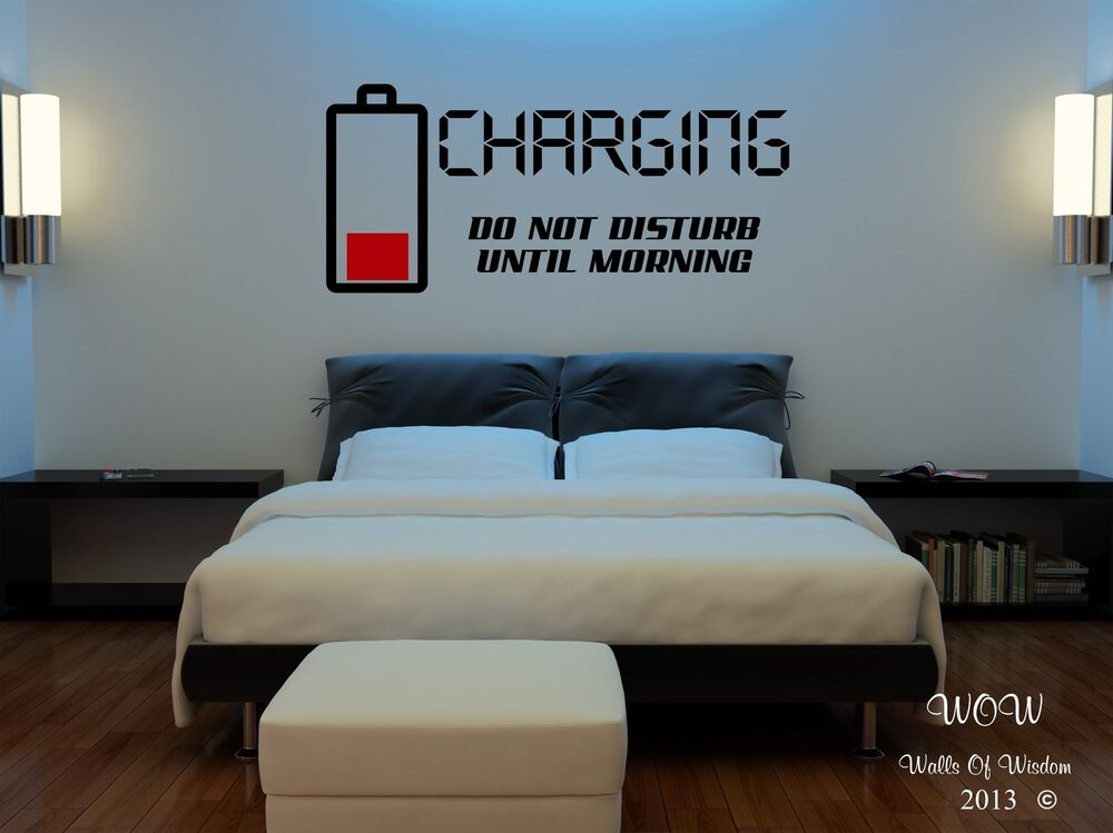 Children teenager adult bedroom wall stickers wall art charging do not disturb ebay - Teenage wall art ideas ...