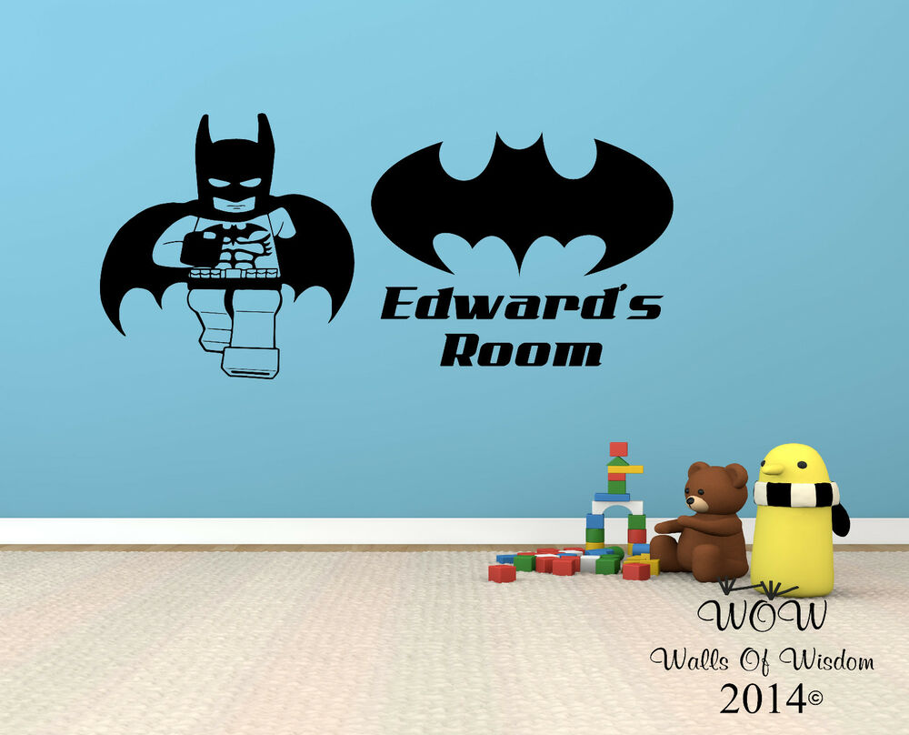 Lego superhero batman childrens bedroom wall sticker wall for Batman wall mural decal