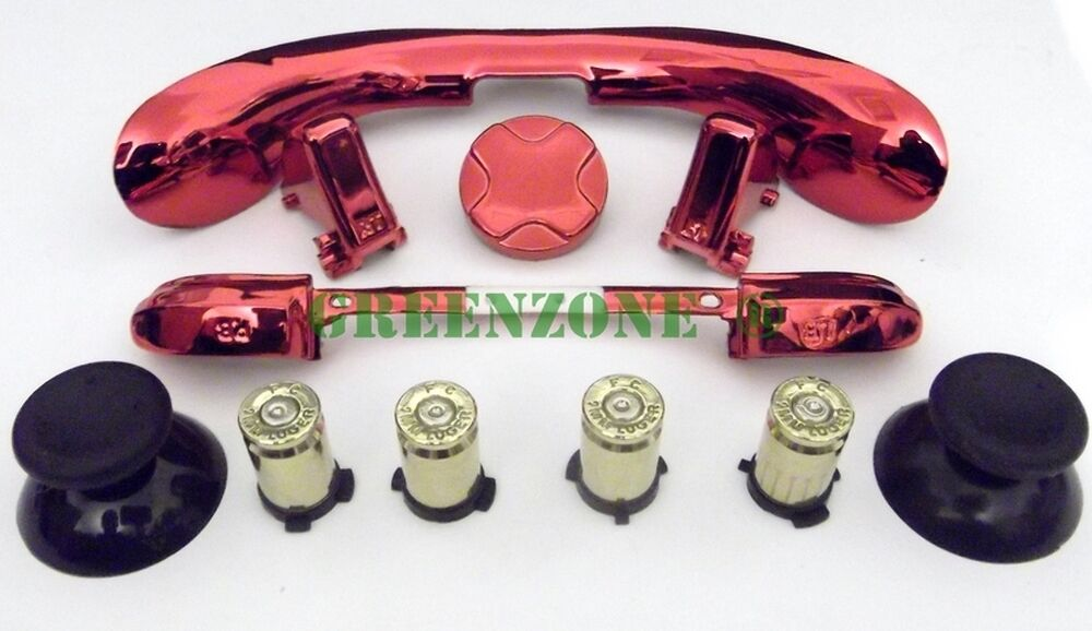 Custom Xbox 360 Controller Brass Bullet Buttons + RED ...