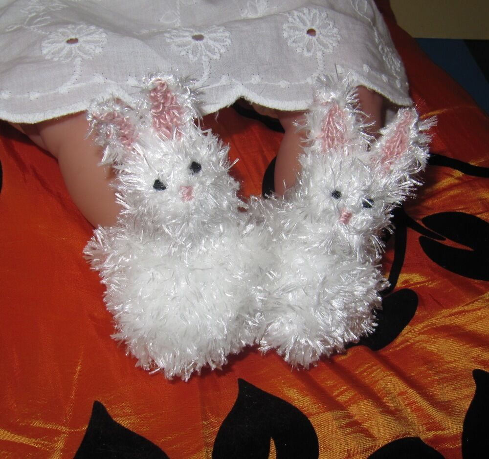 Knitting Patterns For Baby Animals : PRINTED INSTRUCTIONS-BABY FLUFFY BUNNY BOOTS ANIMAL BOOTIES KNITTING PATTERN ...