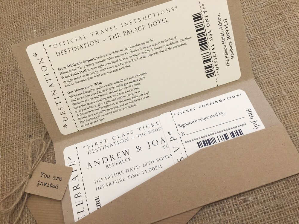 Wedding Invitation Tickets: 1 Vintage/Shabby Chic Style Pocket Ticket Wedding