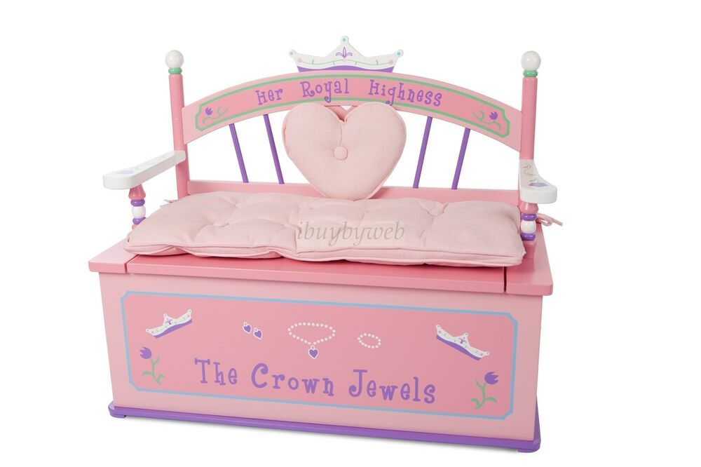 Pink Fairy Wishes Bench Seat With Storage Toy Box Seating: Levels Of Discovery Her Royal Highness Girls Pink Toy Box