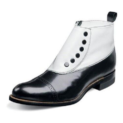 mens black white spat boot biscuit toe