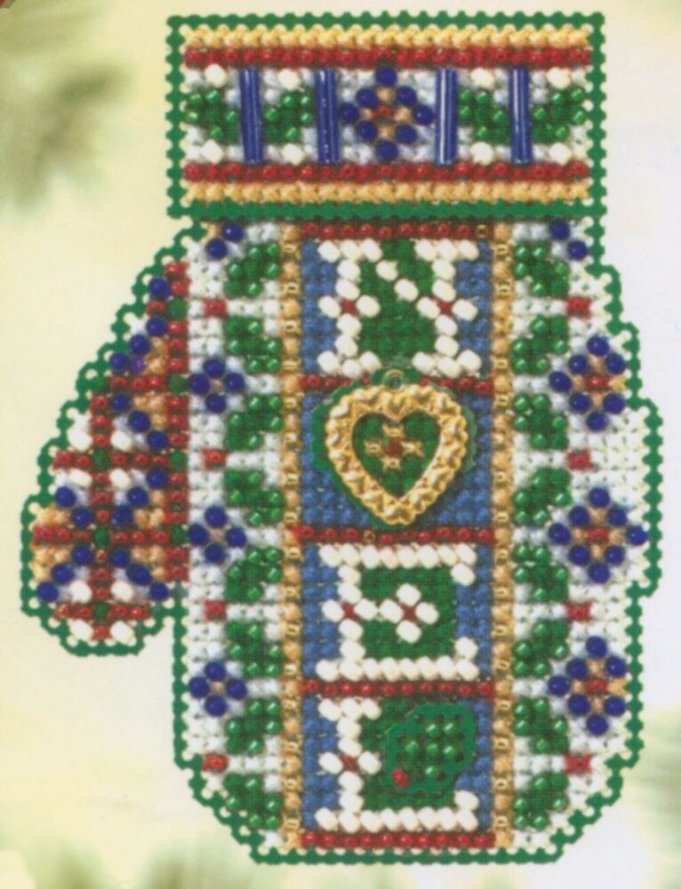 noel beaded cross stitch kit mill hill 2005 mitten