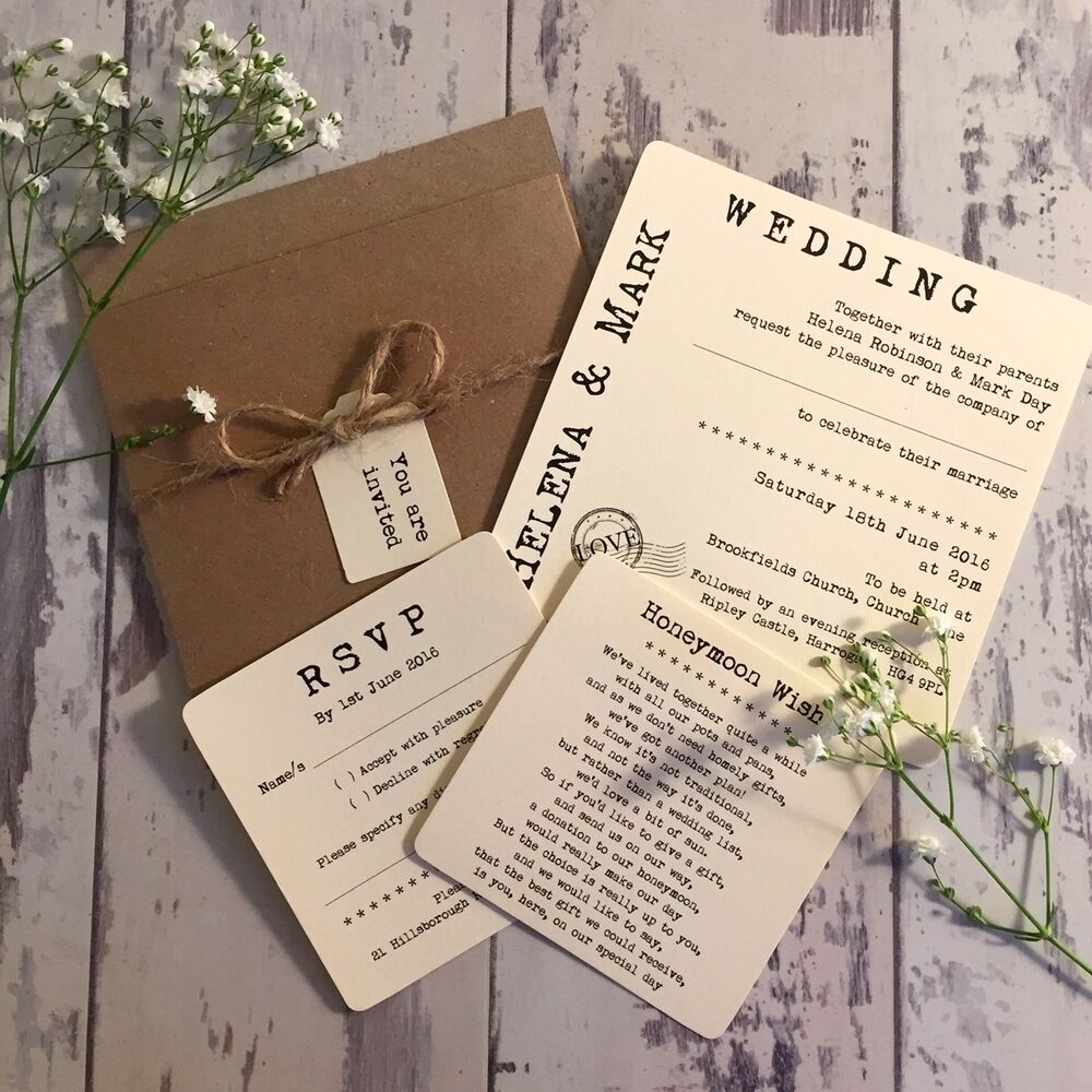 Wedding Invitations Pocket Style: 1 Rustic/Vintage/Shabby Chic Style 'Helena' Pocket Wedding