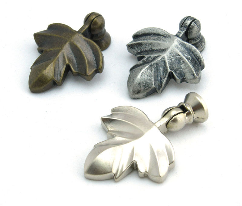 Antique Metal Leaf Drawer Pulls Kitchen Cabinet Knobs