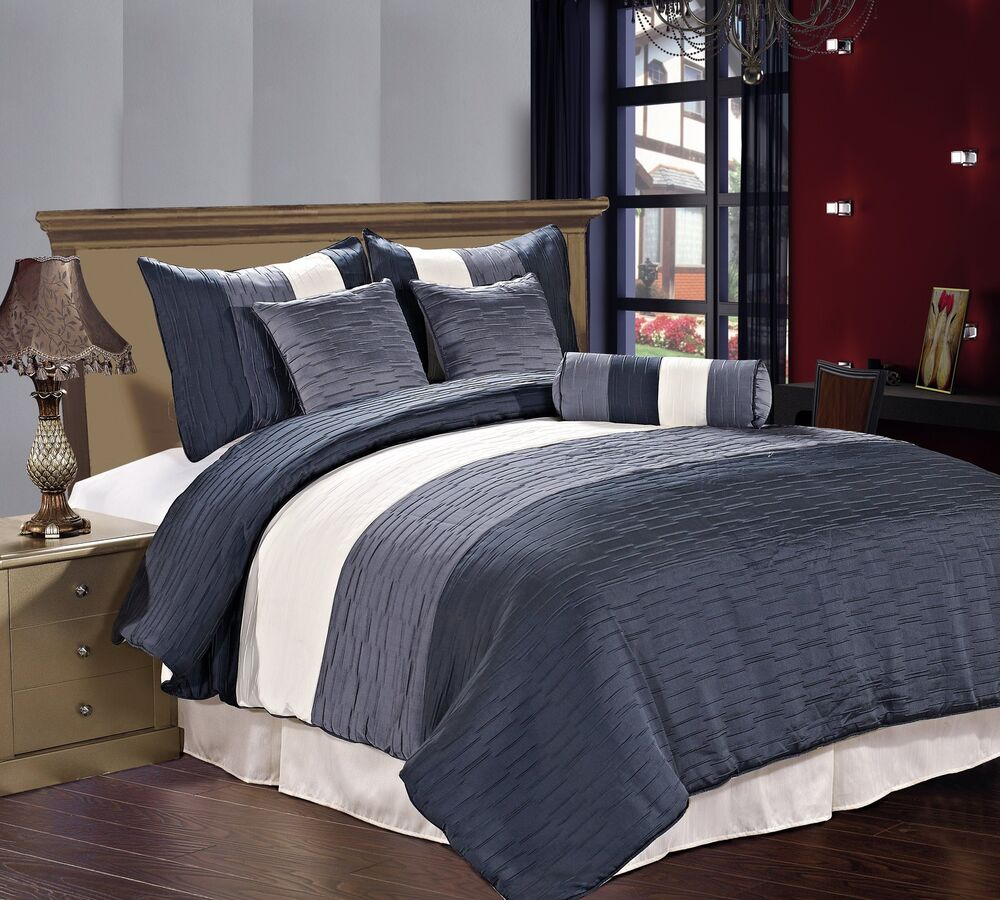 Tan And Slate Blue Bedding