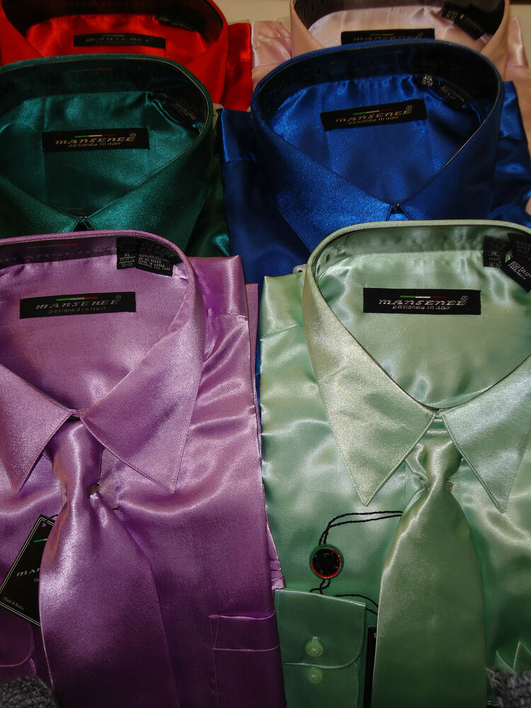Mens emerald green hot red lavender pink formal shiny Emerald green mens dress shirt