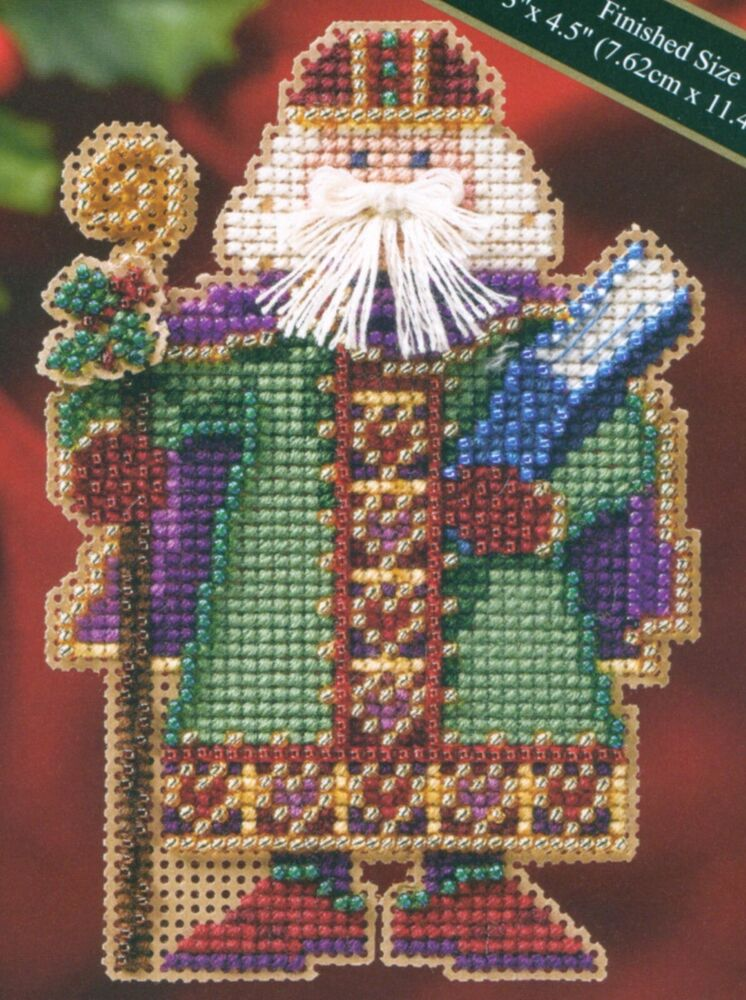 saxony santa beaded cross stitch kit mill hill 2006