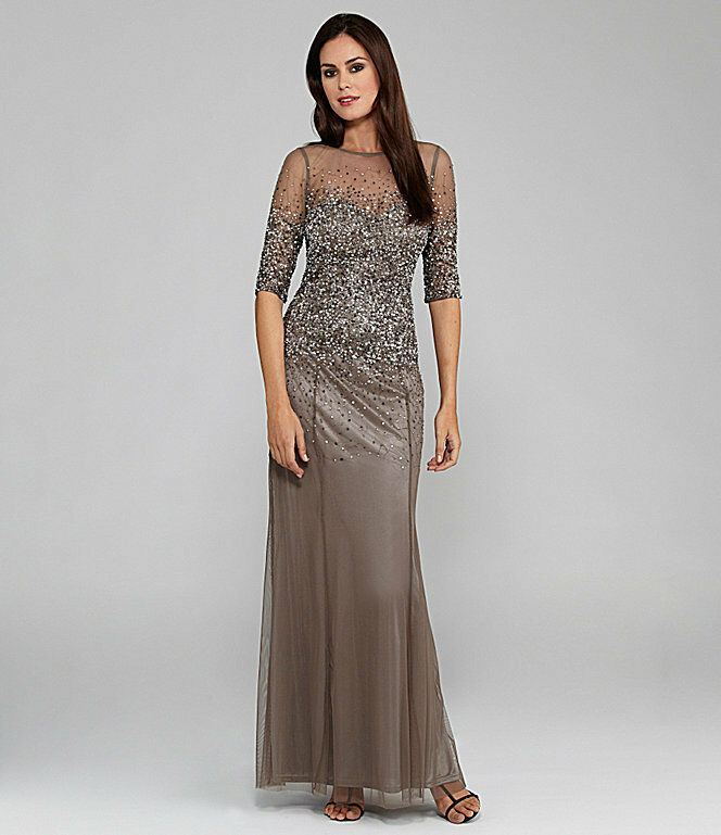 Adrianna Papell Women Beaded Sheer Sleeve Gown Plus Size