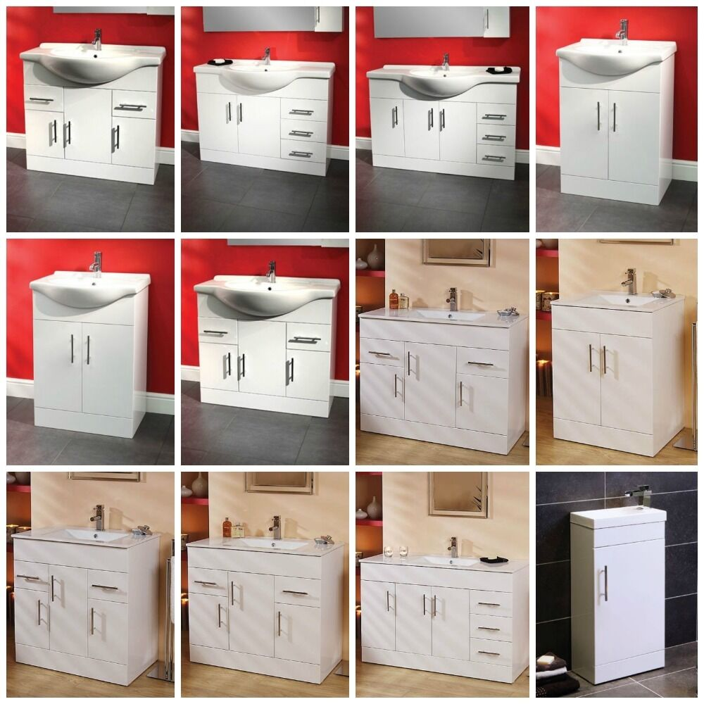 Modern bathroom furniture vanity unit storage cabinet cupboard basin sink ebay - Modern bathroom cabinets storage ...