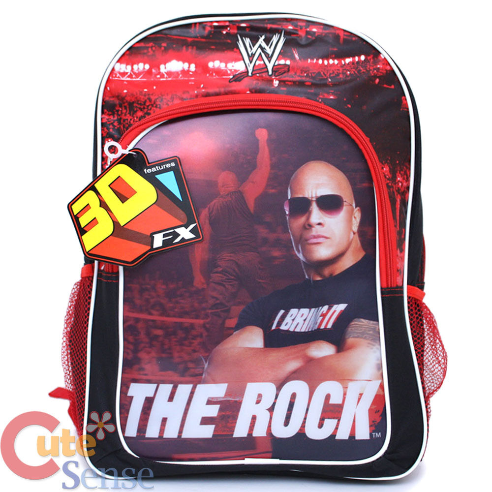 Wwe wrestling the rock school backpack 16 large book bag for 16 wrestlers and their huge homes
