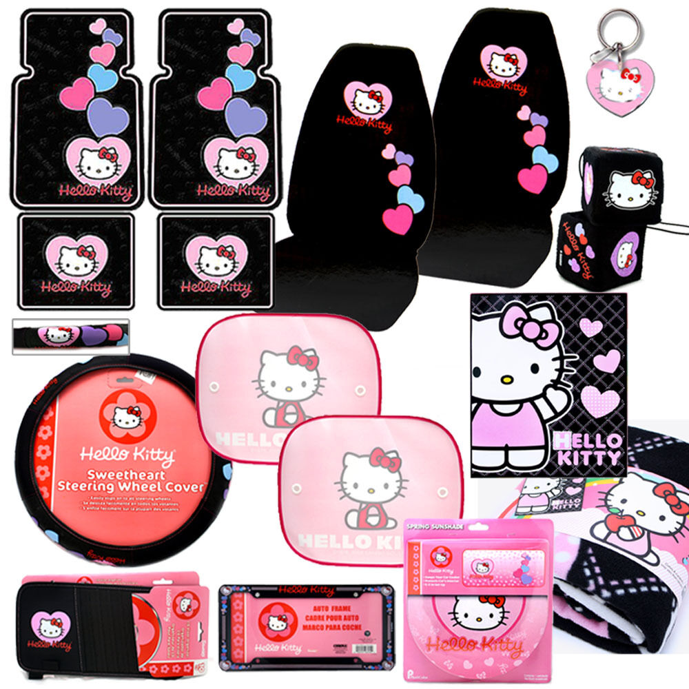 hello kitty car seat covers auto accessories set 15pc ebay. Black Bedroom Furniture Sets. Home Design Ideas