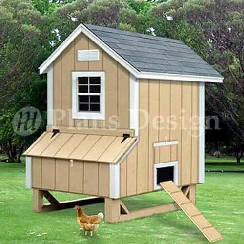 Backyard Chicken Poultry House Coop Buling Plans #90405G