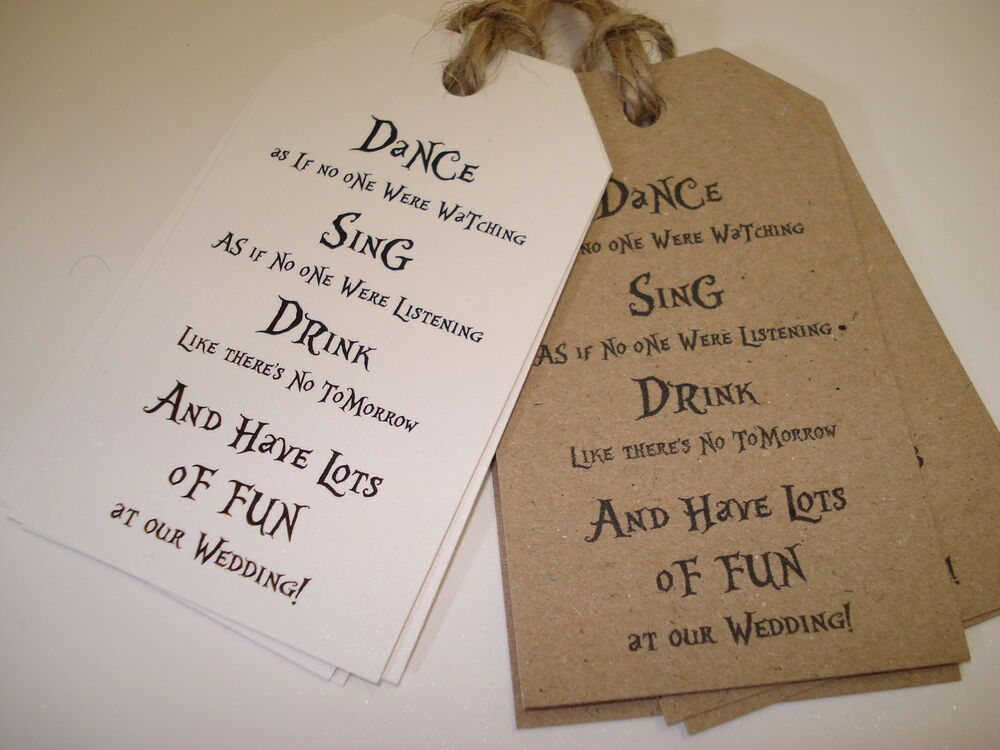 ... /Shabby Chic Style Wedding Favour TagsDance, Sing, Drink eBay
