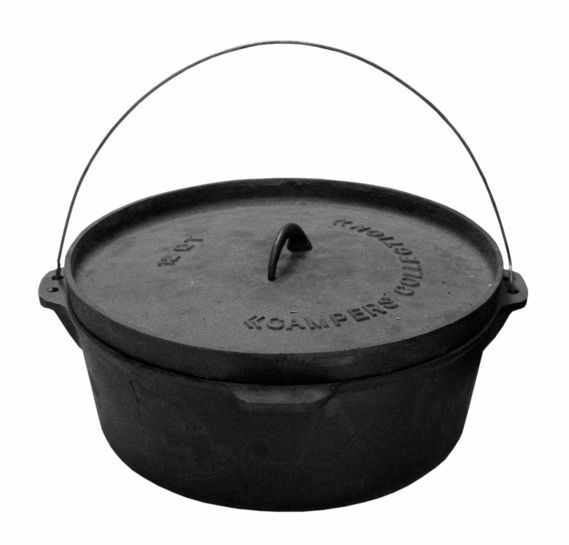 cast iron family stew pot large camping cooking pot camp dutch oven stock pot ebay. Black Bedroom Furniture Sets. Home Design Ideas