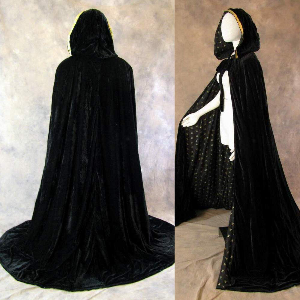 Lined black velvet gold fleur de lis renaissance cloak for Cape designs