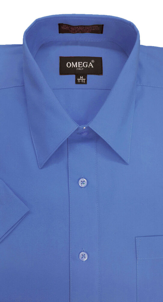 Mens french blue short sleeve dress shirts all sizes ebay for Mens shirts tall sizes