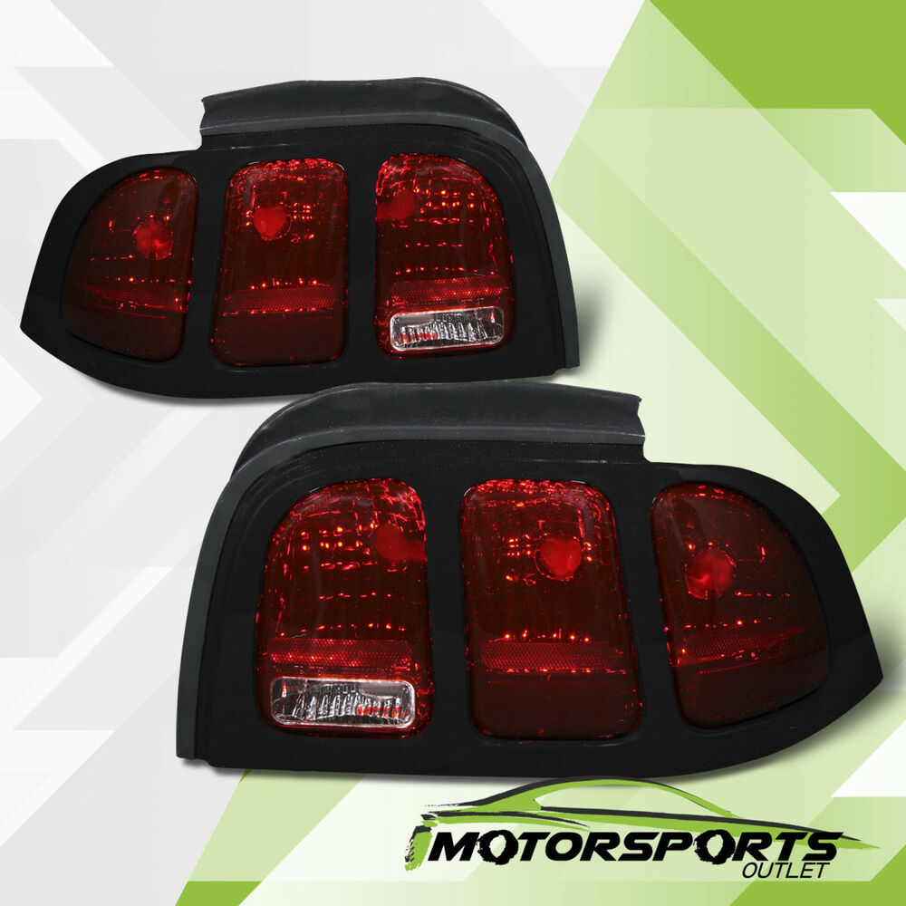 1995 Mustang Cobra >> 1994 1995 1996 1997 1998 Ford Mustang Smoke Red Brake Tail Lights Lamps Pair | eBay