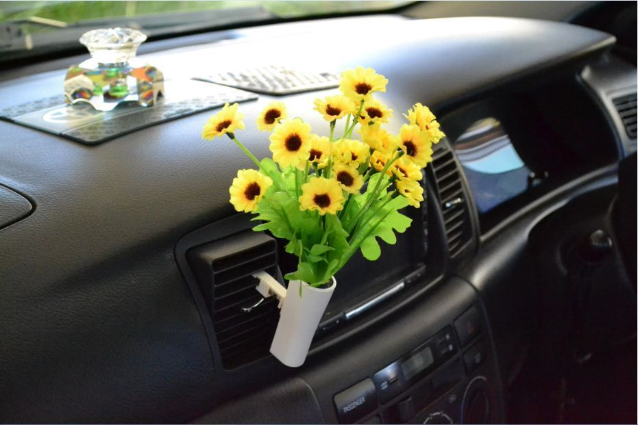 Car van truck flower decor interior accessories decals for Automobile decoration accessories