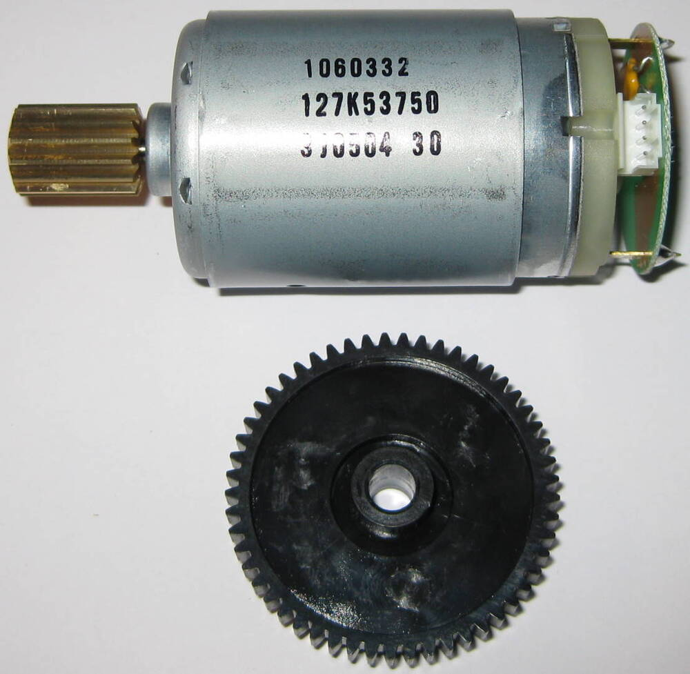 Johnson electric 18v dc motor with brass and plastic gears for Gears for electric motors