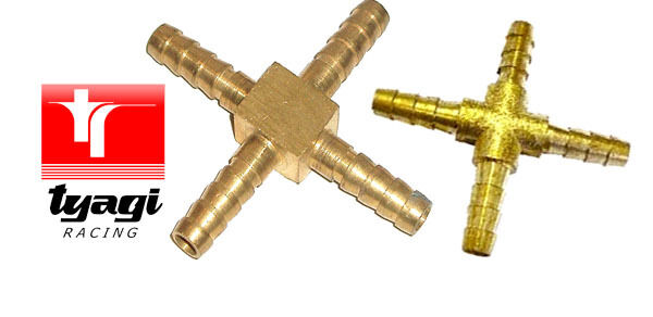 Brass way fuel hose fitting connector junction cross