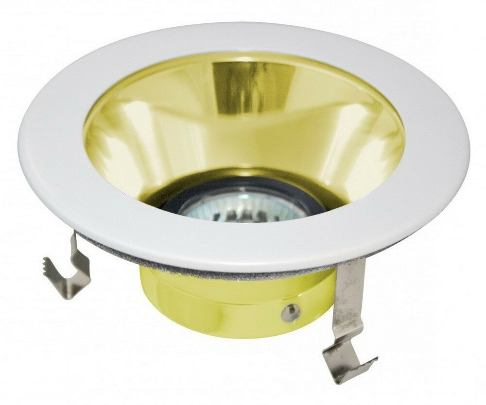 """6 Inch Par30 Adjustable Gimbal Ring Trim White Recessed: 4"""" INCH RECESSED LIGHT SMOOTH POLISHED GOLD BRASS"""